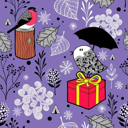 冬の鳥と雪でかわいいシームレス パターン。ベクトル紫色で無限の背景。  イラスト・ベクター素材