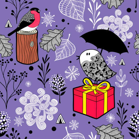 Cute seamless pattern with winter birds and snow. Vector endless background in purple. Illustration