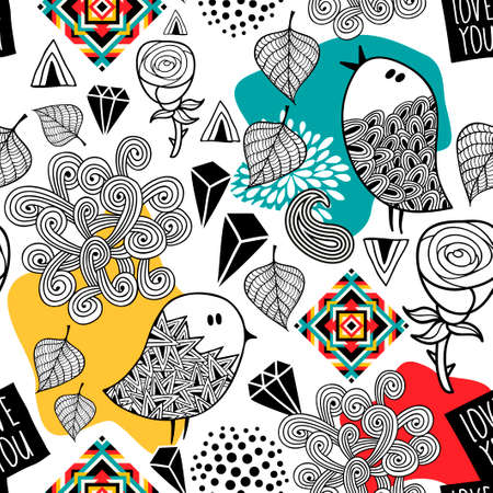 Endless pattern with doodle birds and abstract elements. Vector seamless illustration for print.