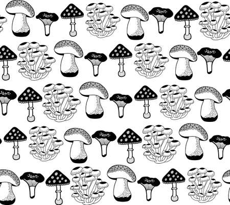 Seamless pattern with autumn mushrooms for coloring. Stock fotó