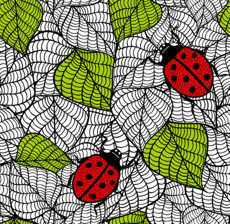 Ecological seamless pattern with green leaves and red bugs. Vector endless illustration.