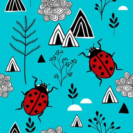 Scandinavian style pattern with red ladybugs in mountains.