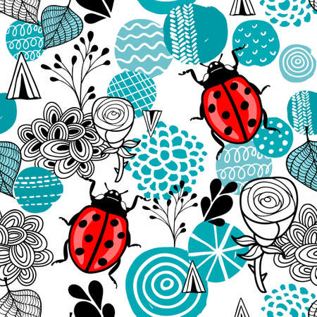 Seamless pattern with cute lady bug and design elements in scandinavian style. Stock Illustratie