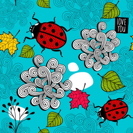 Colorful seamless pattern with lady bug and autumn leaves.