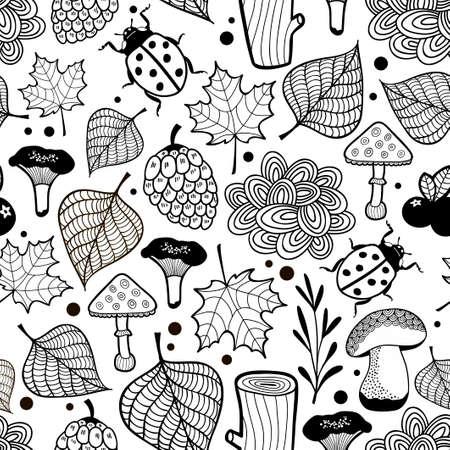 着色の黒と白の壁紙。森の中のバグのベクトルの背景。