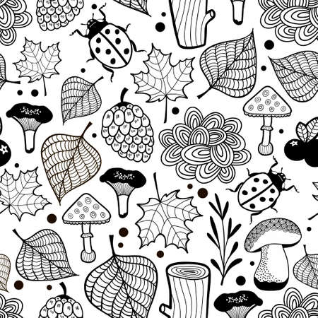 ladybird: Black and white wallpaper for coloring. Vector background with bugs in the forest.