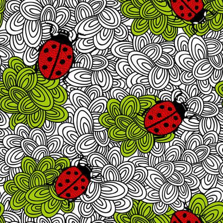 葉の無限の背景に小さなバグを。ベクターのシームレスなパターン。  イラスト・ベクター素材