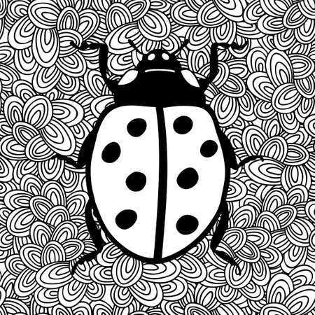 Black and white image of ladybug. Vector illustration for coloring.