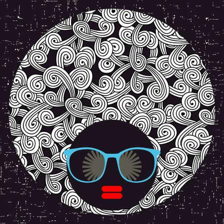 Jeune femme à la peau foncée et turban créatif sur sa tête. Illustration vectorielle avec portrait féminin.