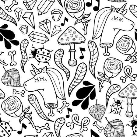 A Seamless background unicorns and autumn plants.