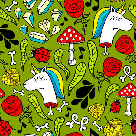 A Seamless background with dead unicorns and nature elements. Illustration