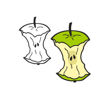 Set of two bitten apples isolated on white background. Colorful and monochrome illustration in vector. Çizim