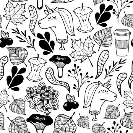 Endless pattern in black and white with dead unicorns heads. Vector seamless wallpaper. Illustration