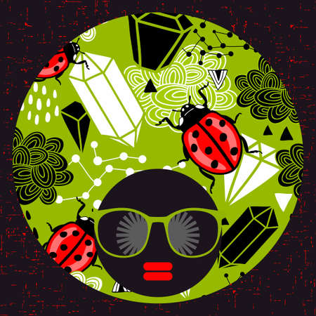 ladybug: Young woman with dark skin and creative turban on her head. Vector illustration with female portrait. Illustration