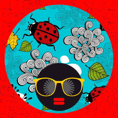 ladybug: Young woman with dark skin and creative turban on her head. Illustration