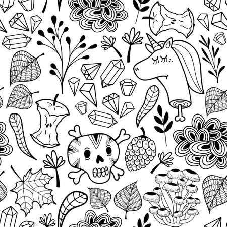 黒と白の漫画頭蓋骨と死んだユニコーン無限パターン。着色子供や大人のためのベクトル図。  イラスト・ベクター素材