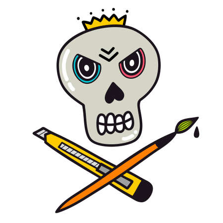 Angry skull with knife and brush. Sign for creative person.