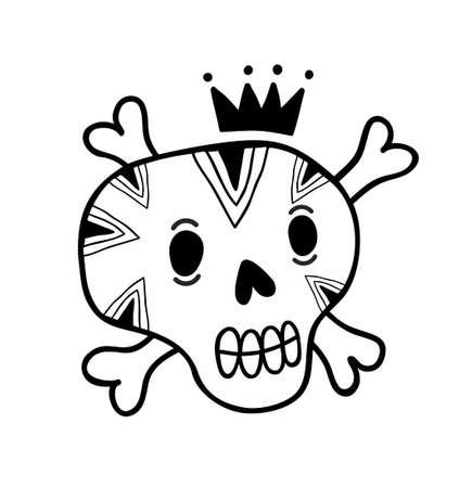 Grappige krabbelschedel met beenderen en kroon. Vectorillustratie in zwart en wit. Stockfoto - 89036542