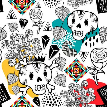 落書き頭蓋骨とロマンチックな花のシームレスなパターン。無限の壁紙。  イラスト・ベクター素材