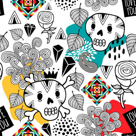 Seamless pattern with doodle skulls and romantic flowers. Vector endless wallpaper.