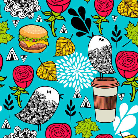 Food and birds romantic pattern on blue background.