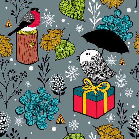 冷たい森のかわいい落書き鳥とシームレスな冬パターン。