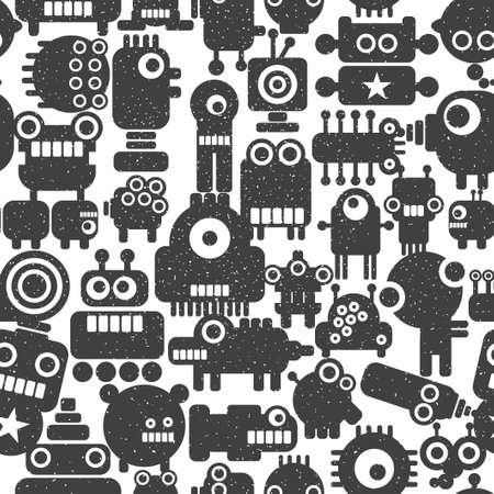 Seamless pattern with techno monsters and robots. Cute illustration in vector. Illustration