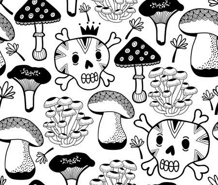 Black and white seamless pattern with mushrooms and skulls. Vector doodle illustration drawn by hand. Endless background for coloring book. Illustration