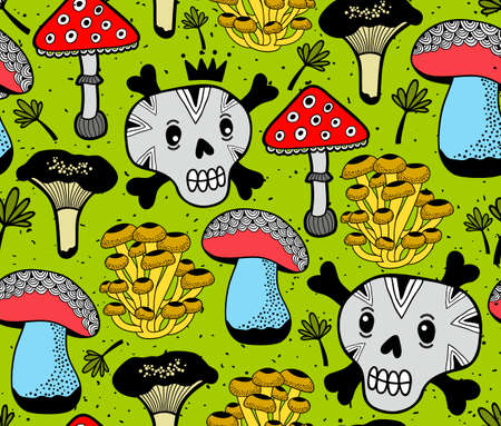 Seamless vector pattern with funny skulls and summer mushrooms in forest. Endless wallpaper in retro style.