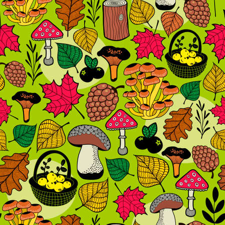 Seamless background with autumn nature elements. Vector endless pattern of mushrooms, tree leaves and berries. Ecological illustration. Ilustracja