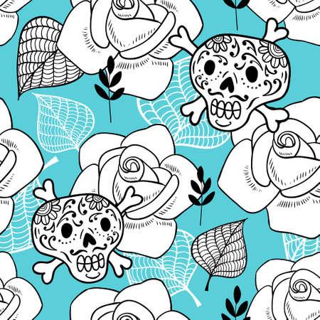 Eindeloze achtergrond met suikerschedels en rozen. Romantisch patroon voor plezier en kleuren. Vector doodle illustratie.