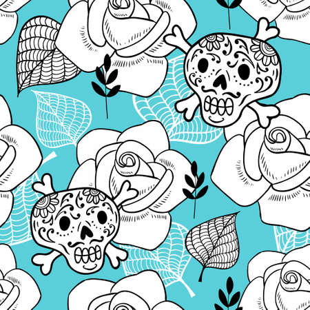 Endless background with sugar skulls and roses. Romantic pattern for fun and coloring. Vector doodle illustration.