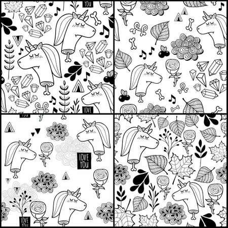 Set of black and white patterns with dead unicorn. Vector seamless illustrations for children and adult coloring book.