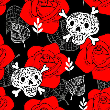 Seamless pattern with sugar skulls and red roses. Vector endless background. Romantic floral wallpaper. Ilustração