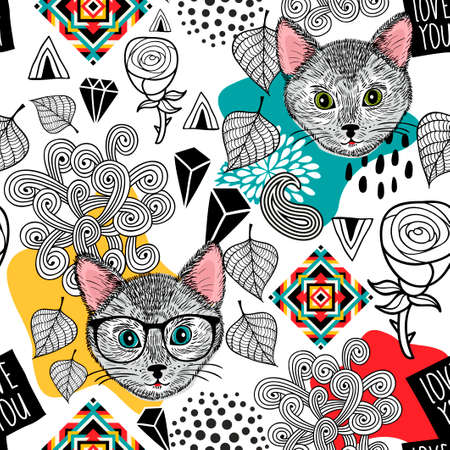 Cute animals with flowers and leaves seamless pattern.