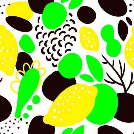 Patrón sin fisuras con limones amarillos en estilo abstracto. Fondo de vector. Ilustración del jardín. Foto de archivo - 90507179