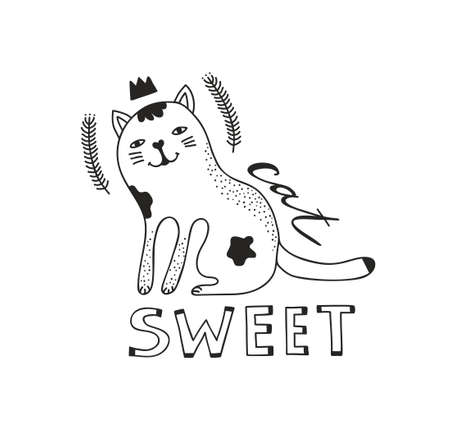 Cute cat isolated with text on white background. Vector illustration in black and white. Illustration