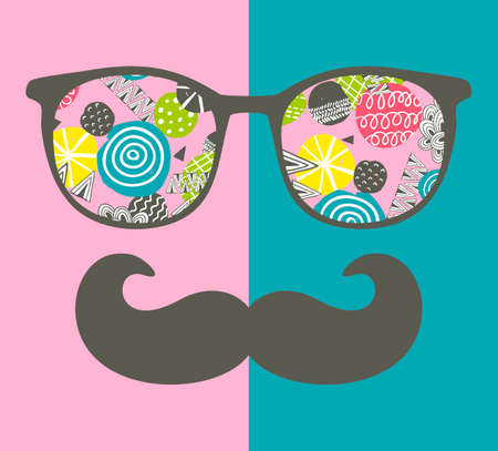 Abstract face of man in glasses. Vector image in retro style. Stock Illustratie