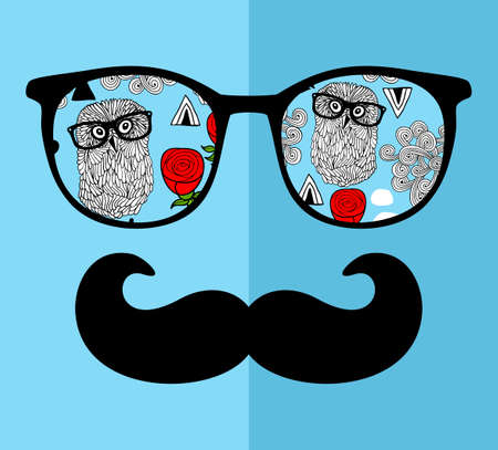 Abstract face of man in glasses. Vector image in retro style. Ilustração