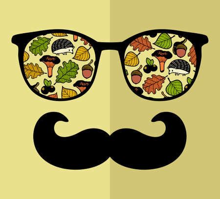 Abstract face of man in glasses and mustache. Stock Vector - 92481998