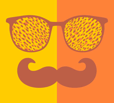 Abstract face of man in glasses and with mustache.