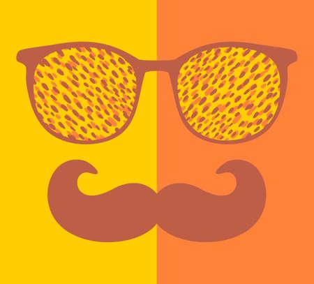 Abstract gezicht van de mens in glazen en met snor. Stock Illustratie