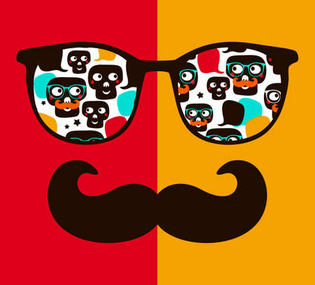 Abstract face of man in glasses illustration.