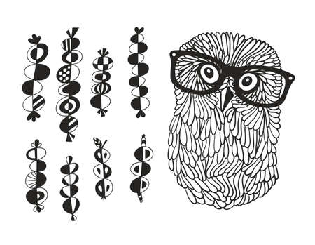 Smart owl and the set of hand drawn design elements in Scandinavian style. Illustration