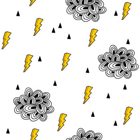 Cloudy sky seamless pattern on white background illustration.