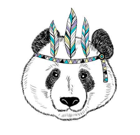 Cute panda on white background illustration.