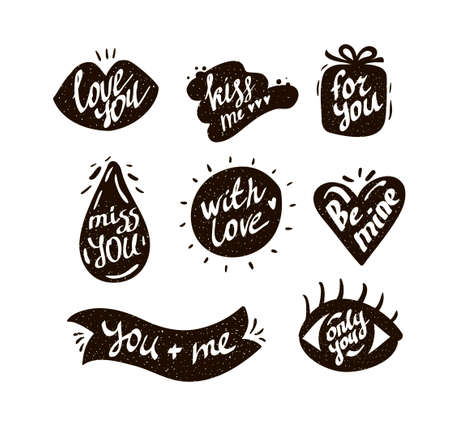 Collection of text labels with love messages illustration.