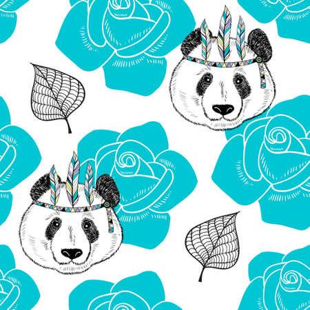 Naadloos patroon met schattige panda als een native american. Stock Illustratie
