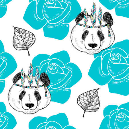 Seamless pattern with cute panda as a native american.