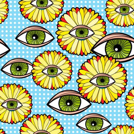 幻想的なトランスヴァールデイジーと人間の目を持つシームレスなパターン。  イラスト・ベクター素材